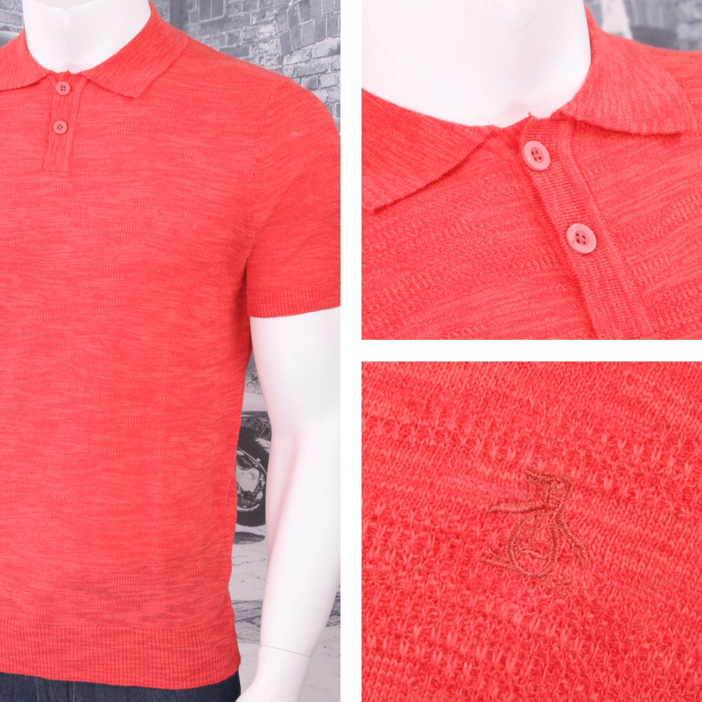 Original Penguin Texture Cotton Linen Knit Short Sleeve
