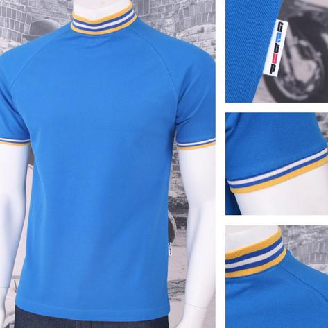 Get Up Tipped Turtle Neck All Cotton Pique Short Sleeve Retro Sports T-shirt Thumbnail 3
