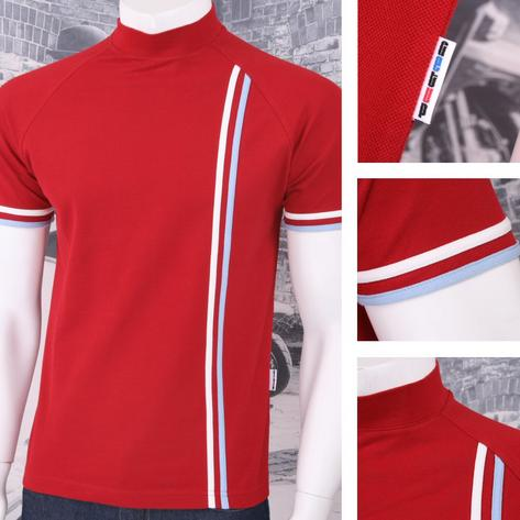 Get Up Turtle Neck All Cotton Pique Racing Stripe Short Sleeve Retro Sports T-sh Thumbnail 6