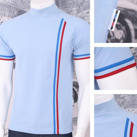 Get Up Turtle Neck All Cotton Pique Racing Stripe Short Sleeve Retro Sports T-sh Thumbnail 3