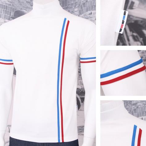 Get Up Turtle Neck All Cotton Pique Racing Stripe Short Sleeve Retro Sports T-sh Thumbnail 5