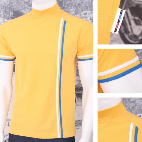 Get Up Turtle Neck All Cotton Pique Racing Stripe Short Sleeve Retro Sports T-sh Thumbnail 2