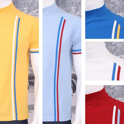 Get Up Turtle Neck All Cotton Pique Racing Stripe Short Sleeve Retro Sports T-sh Thumbnail 1