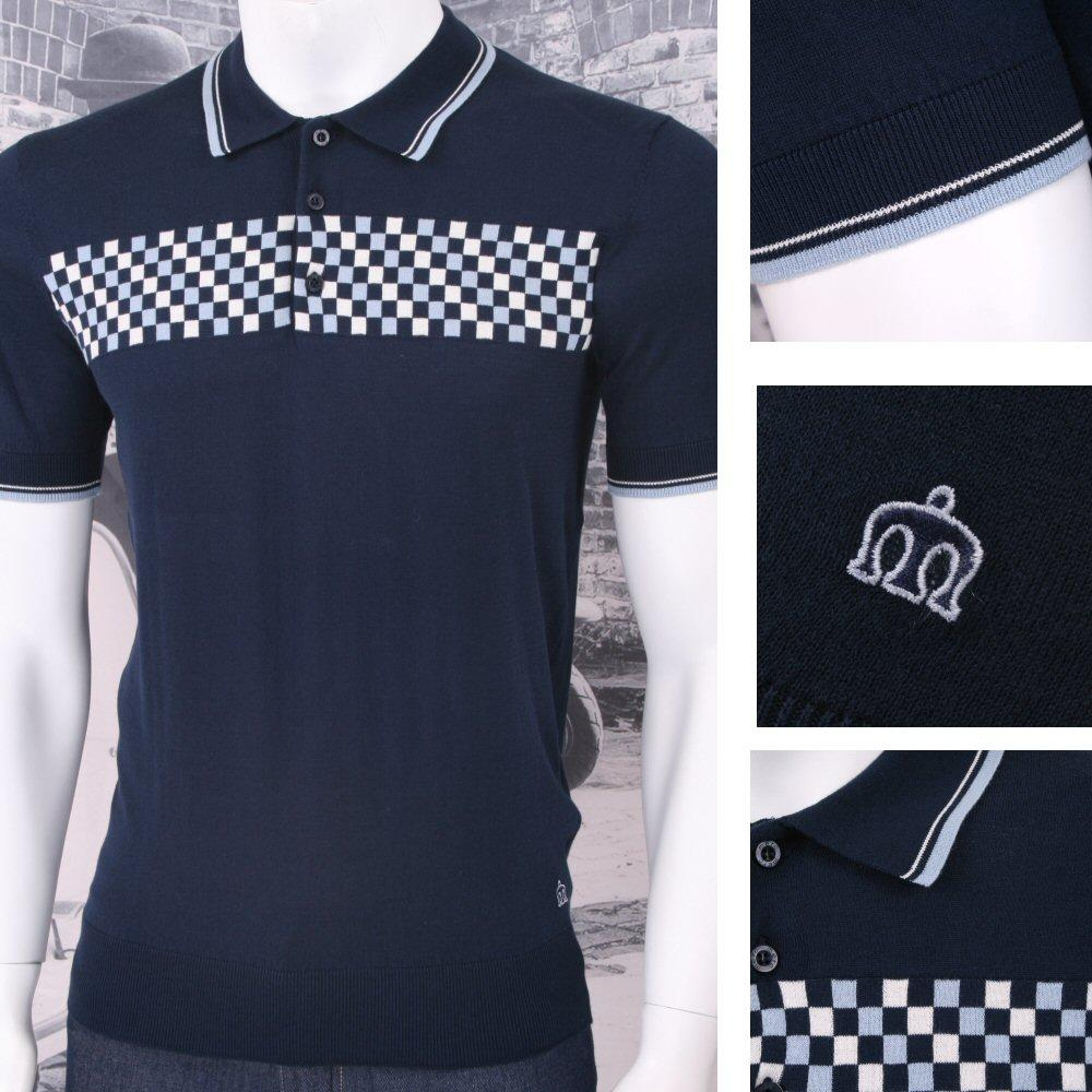 Merc London Mod Retro 60's Checkered Front Knit S/S Polo Shirt Navy
