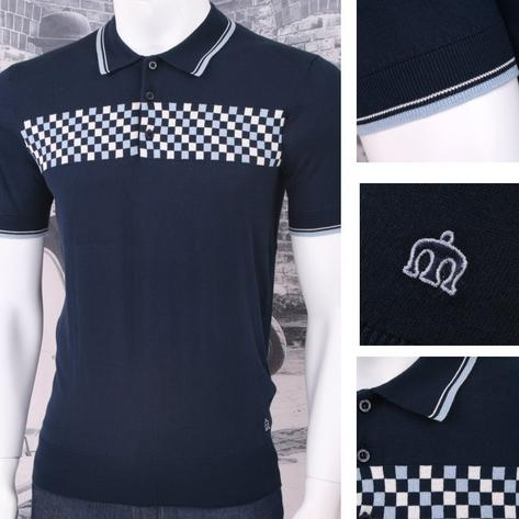 Merc London Mod Retro 60's Checkered Front Knit S/S Polo Shirt Navy Thumbnail 1