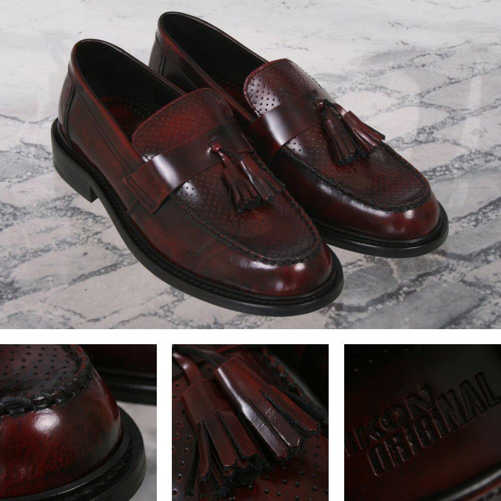 Ikon Originals Perforated Toe Tassel Loafers Mod Shoe Oxblood