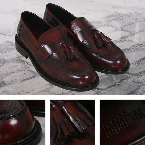 Ikon Originals Perforated Toe Tassel Loafers Mod Shoe Oxblood Thumbnail 1