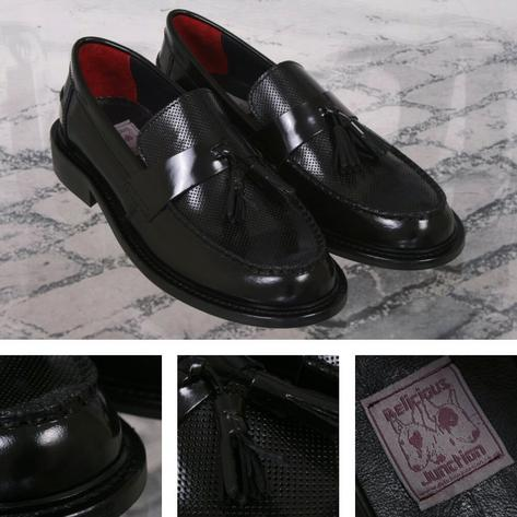Delicious Junction Perforated Toe Tassel Loafers Mod Shoe Black Thumbnail 1
