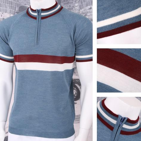 Adaptor Clothing Retro Mod Made in Italy Merino Wool S/S Horizontal Stripe Cycli Thumbnail 3
