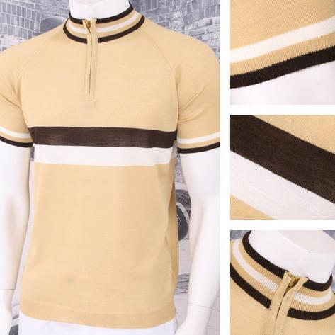 Adaptor Clothing Retro Mod Made in Italy Merino Wool S/S Horizontal Stripe Cycli Thumbnail 2