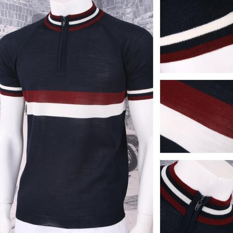 Adaptor Clothing Retro Mod Made in Italy Merino Wool S/S Horizontal Stripe Cycli Thumbnail 6