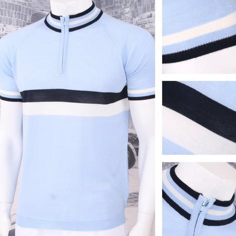 Adaptor Clothing Retro Mod Made in Italy Merino Wool S/S Horizontal Stripe Cycli Thumbnail 5