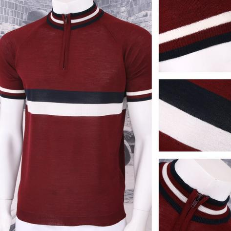 Adaptor Clothing Retro Mod Made in Italy Merino Wool S/S Horizontal Stripe Cycli Thumbnail 4