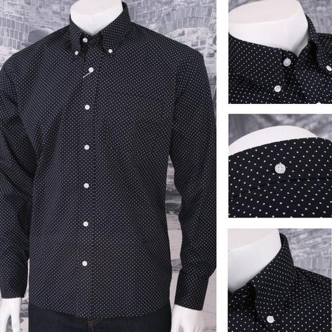 Relco New Mod Retro 60's Pin Dot Print L/S Shirt Thumbnail 1