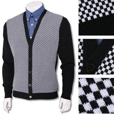 New Mod Relco 60's Heavy Gauge Knit Checkerboard Cardigan Black / White Thumbnail 1