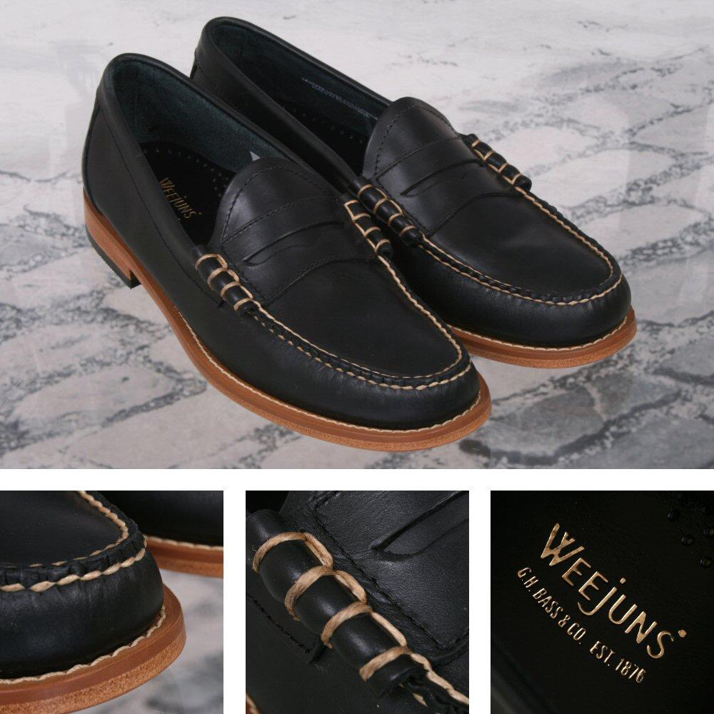 Bass Weejuns Classic Ivy League Soft Pull Up Leather Penny Loafer Shoe Navy
