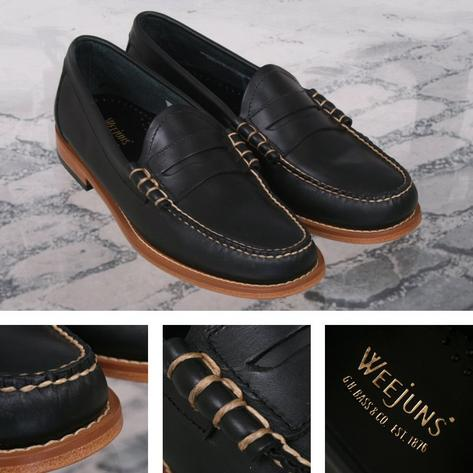 Bass Weejuns Classic Ivy League Soft Pull Up Leather Penny Loafer Shoe Navy Thumbnail 1