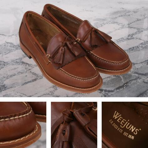Bass Weejuns Ivy League Soft Pull Up Leather Tassel & Fringe Loafer Shoe Mid Bro Thumbnail 1