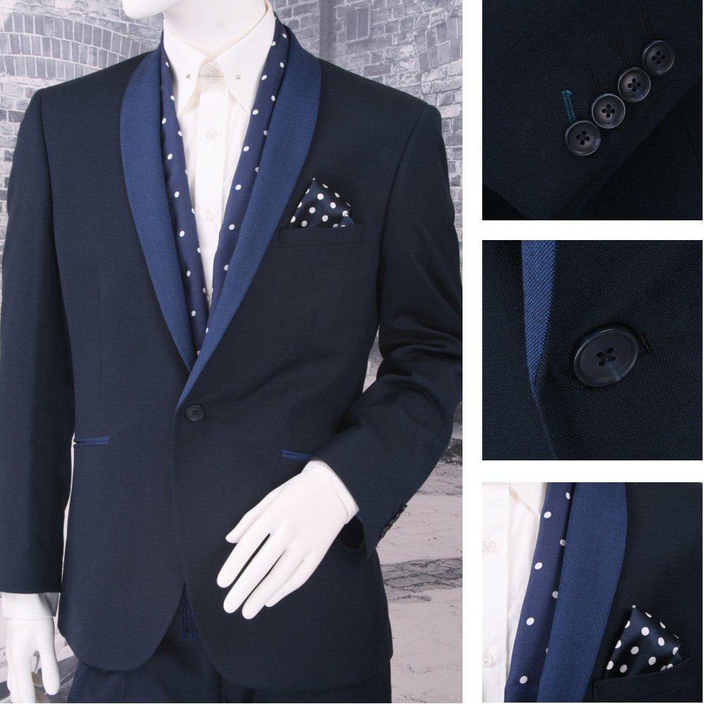 Scott Prom Evening Contrast Shawl Lapel 1 Button Slim Fit Suit Navy