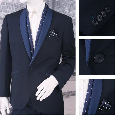 Scott Prom Evening Contrast Shawl Lapel 1 Button Slim Fit Suit Navy Thumbnail 1