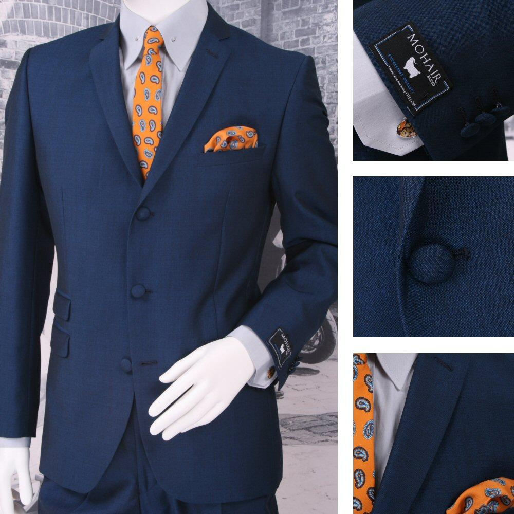 Adaptor Clothing Mod 60's Retro 3 Button Slim Mohair Suit Bright Blue