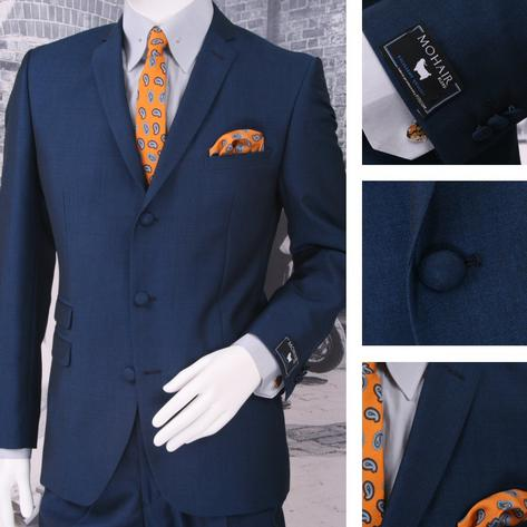 Adaptor Clothing Mod 60's Retro 3 Button Slim Mohair Suit Bright Blue Thumbnail 1