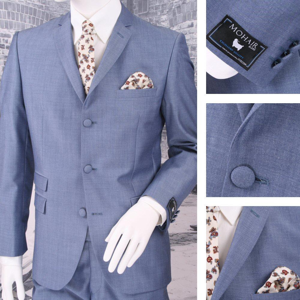 Adaptor Clothing Mod 60's Retro 3 Button Slim Mohair Suit Light Blue