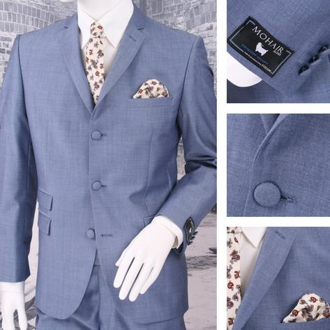 Adaptor Clothing Mod 60's Retro 3 Button Slim Mohair Suit Light Blue Thumbnail 1