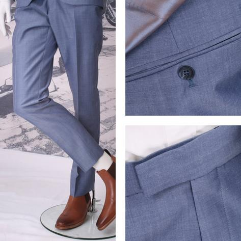Adaptor Clothing Mod 60's Retro Frog Mouth Pocket Slim Mohair Trousers Light Blu