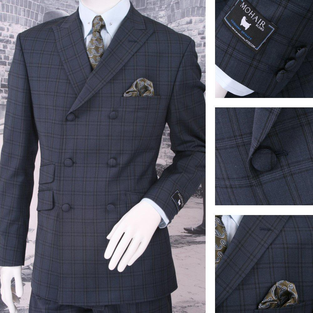 Adaptor Clothing Mod 60's Retro Double Breasted Slim Overcheck Suit Blue