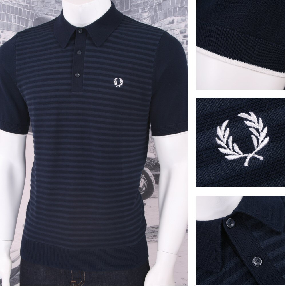 43d6c3dfb5d Fred Perry Mod 60 s Laurel Wreath Two Tone Textured Stripe Knit Polo Shirt  Navy Thumbnail 1 ...