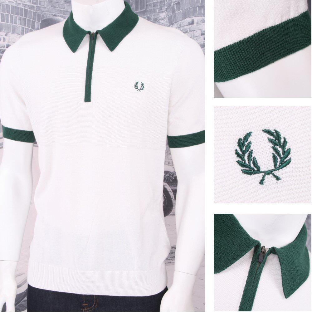 0bb929aa3 Fred Perry Mod 60 s Laurel Wreath Zip Knit Collar Polo Shirt White ...