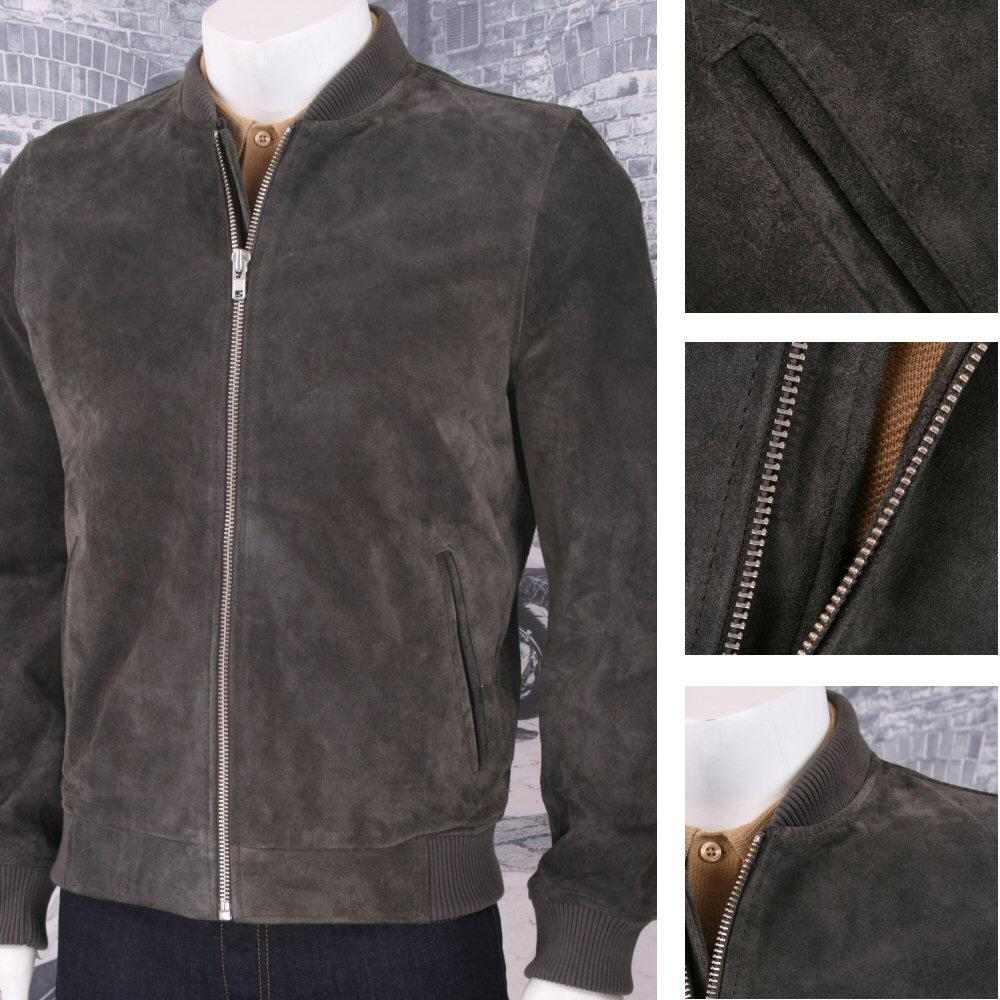 Bellfield Clothing 100% Suede Traditional Style Bomber Jacket Charcoal
