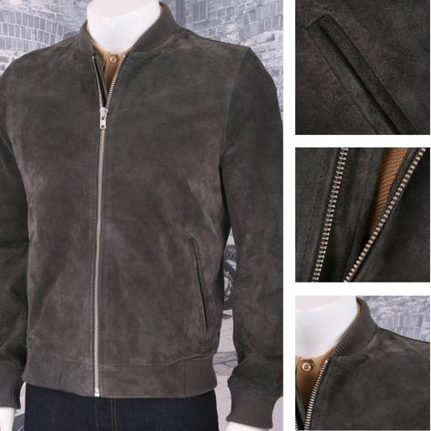 Bellfield Clothing 100% Suede Traditional Style Bomber Jacket Charcoal Thumbnail 1