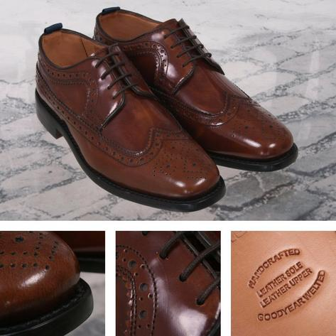 Delicious Junction Skin Mod Brogue Royale Goodyear Welt Sole Shoe Chestnut Brown Thumbnail 1