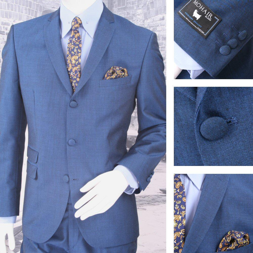 Adaptor Clothing Mod 60's Retro 3 Button Slim Mohair Suit Electric Blue
