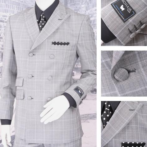Adaptor Clothing Mod 60's Retro Double Breasted Prince of Wales Suit Grey Thumbnail 1