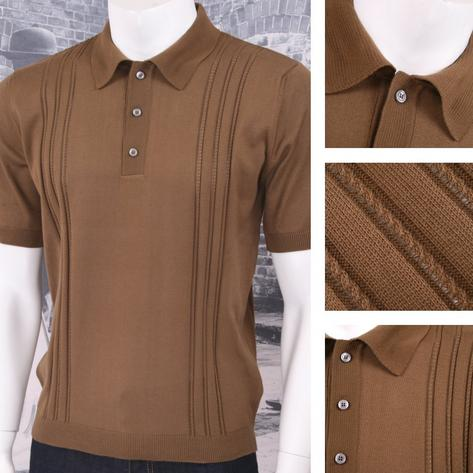 Adaptor Clothing Retro Mod Made in Italy All Cotton Cable Knit Polo (5 Colours) Thumbnail 4