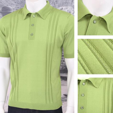 Adaptor Clothing Retro Mod Made in Italy All Cotton Cable Knit Polo (5 Colours) Thumbnail 2