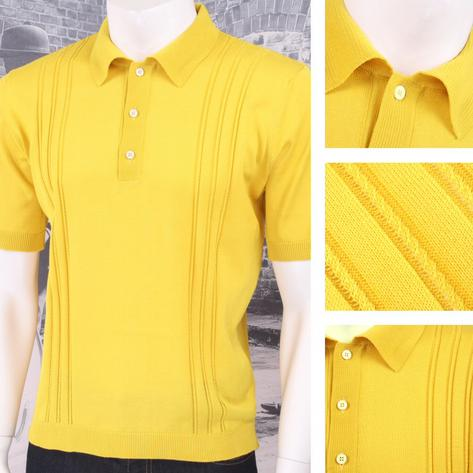 Adaptor Clothing Retro Mod Made in Italy All Cotton Cable Knit Polo (5 Colours) Thumbnail 6