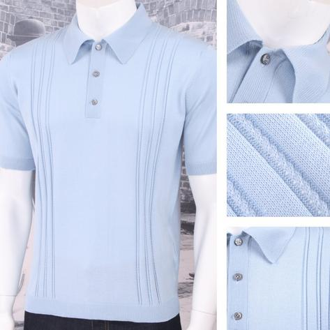 Adaptor Clothing Retro Mod Made in Italy All Cotton Cable Knit Polo (5 Colours) Thumbnail 3