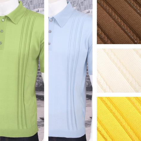 Adaptor Clothing Retro Mod Made in Italy All Cotton Cable Knit Polo (5 Colours) Thumbnail 1
