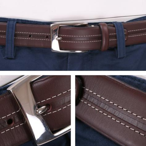 British Belt Company Made in England Premium Quality Stitch Detail Italian Leath Thumbnail 1