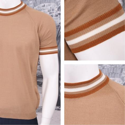 Adaptor Clothing Retro Mod Made in Italy Merino Wool S/S Tipped Sports Top Thumbnail 3