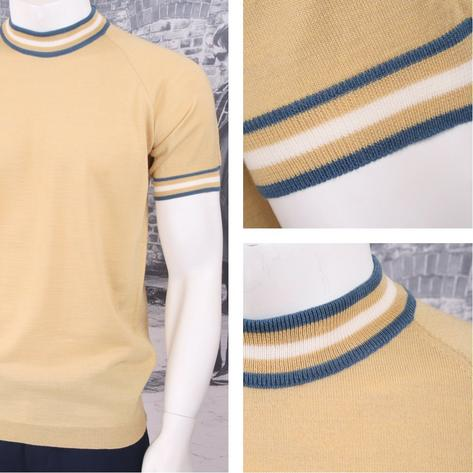 Adaptor Clothing Retro Mod Made in Italy Merino Wool S/S Tipped Sports Top Thumbnail 4