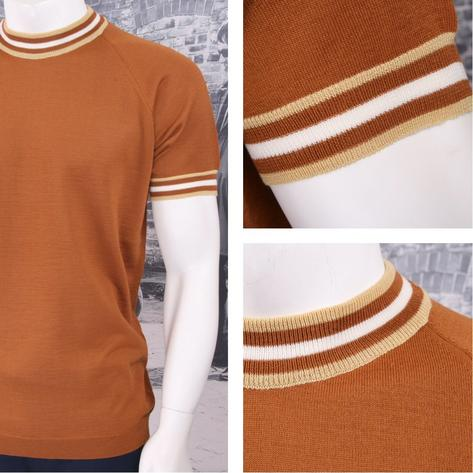 Adaptor Clothing Retro Mod Made in Italy Merino Wool S/S Tipped Sports Top Thumbnail 2