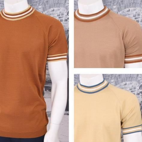 Adaptor Clothing Retro Mod Made in Italy Merino Wool S/S Tipped Sports Top Thumbnail 1