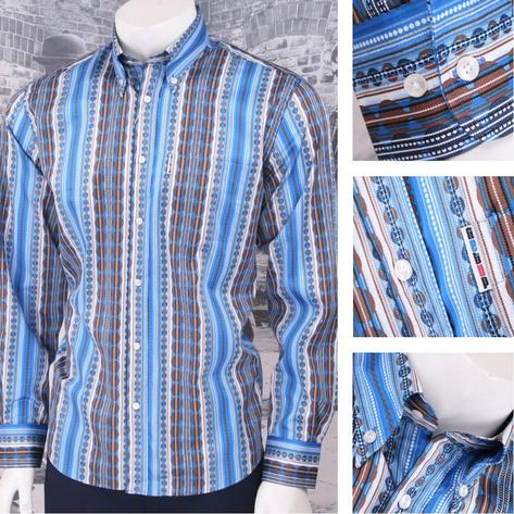Get Up Mod Retro Skin Button Down Long Sleeve Geometric Pattern Shirt Blue Thumbnail 1