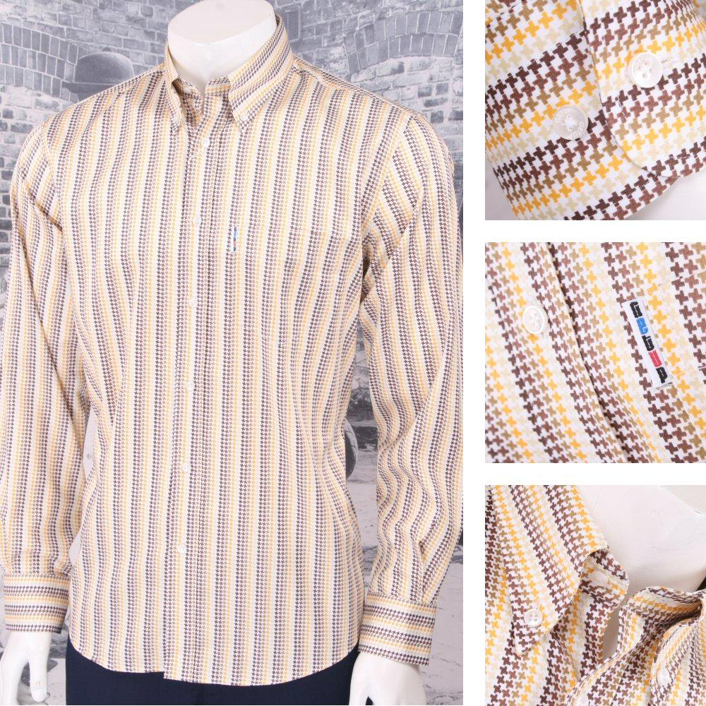 Get Up Retro Loud Lairy Bold Crazy Party Holiday Puppytooth Shirt Mustard