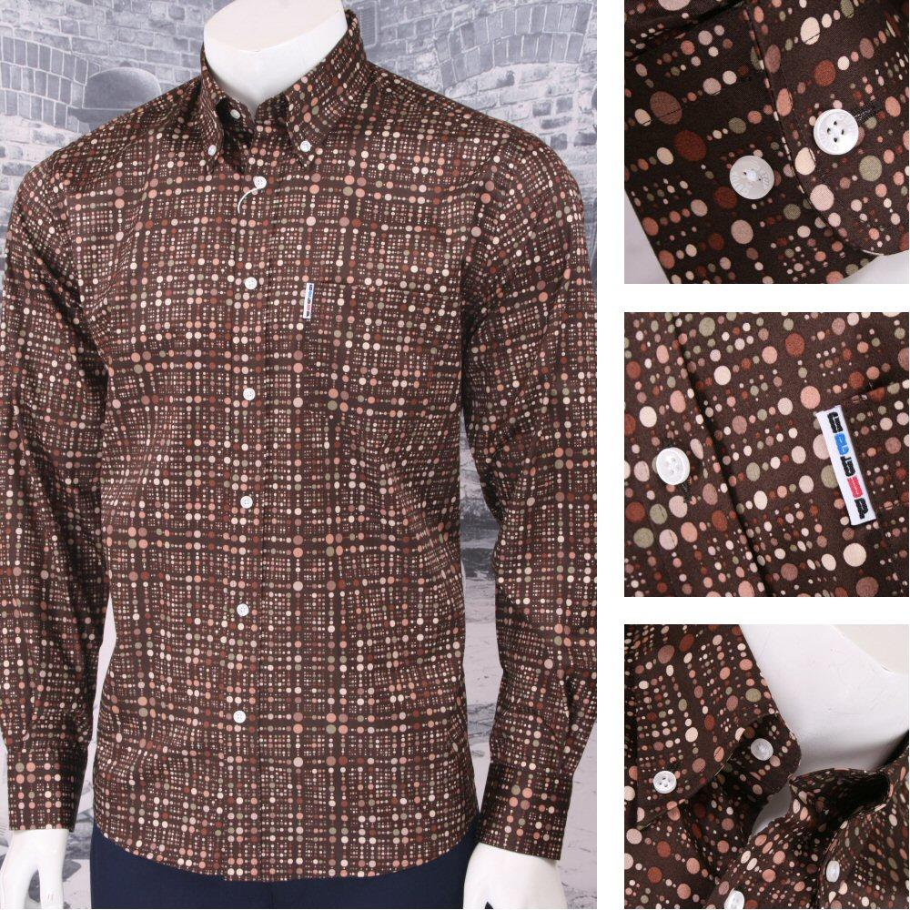 Get Up Retro Loud Lairy Bold Crazy Party Holiday Spotted Shirt Brown